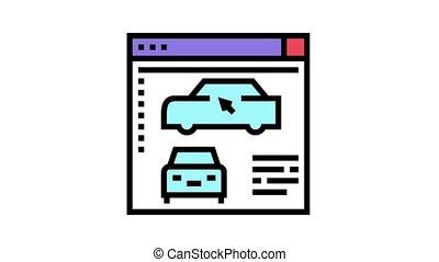 programme, voiture, animation, icône, couleur, modelage