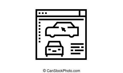 programme, voiture, animation, icône, ligne, modelage