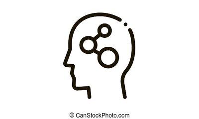 programmed brain Icon Animation. black programmed brain animated icon on white background