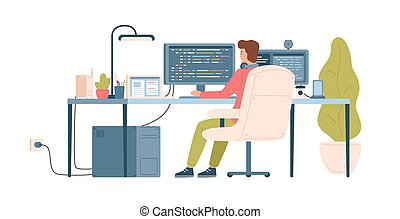 Programmer, coder, web developer or software engineer sitting at desk and working on computer or programming. Workplace of IT worker. Back view. Colorful vector illustration in flat cartoon style