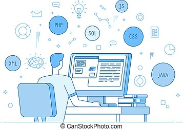 Programmer coding website. Coder web designer works on...