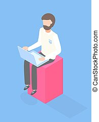 Programmer, designer, co-worker, manager, office clerk using laptop sitting at 3d rectangle. Computer user. Bearded guy working at wireless computer. Isometric flat illustration with cartoon character