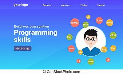 Programmer flat design graphic illustration. Computer geek programming software training website banner concept