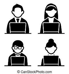 Programmer man and woman icons set. illustration.
