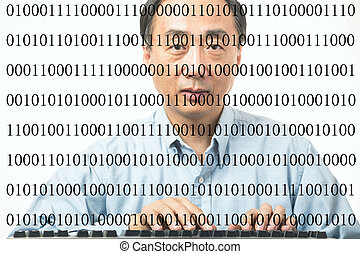 Programmer - Male asian programmer with binary codes on...