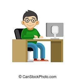 Programmer on Desktop Computer Coding and Programming. Vector
