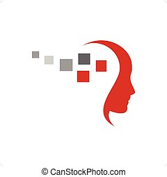 Programmer red silhouette with red and gray cubes vector illustration isolated on white background.