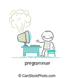 programmer stands next to a computer that explodes