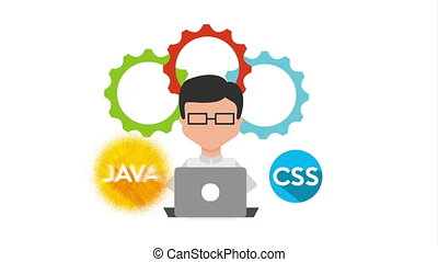 programmer with laptop programming animation - programmer...