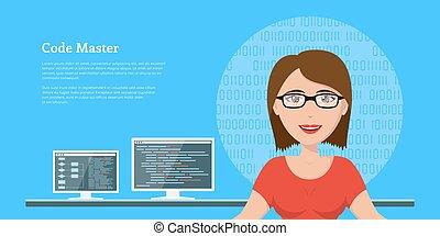 programmer woman character