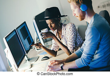 Programmer working in a software developing company