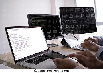programmeur, codage, travail, informatique, révélateur, ...