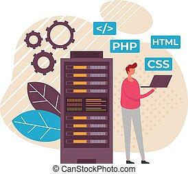 programmeur, ontwerp, spotprent, concept., databank, vector, grafisch, data, ontwikkeling, plat, illustratie