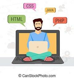 programmeur, ordinateur portable, vecteur, illustration, fonctionnement