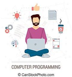 programmeur, vecteur, illustration, fonctionnement
