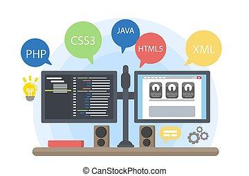 programmeurs, informatique, illustration.