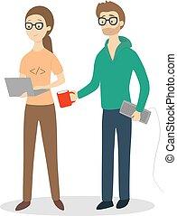 programmeurs, isolé, couple.