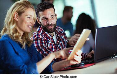 programmierer, informationen, firma, zusammenarbeiten, technologie