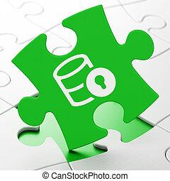 programmierung, concept:, datenbank, mit, schloß, auf, puzzel, hintergrund