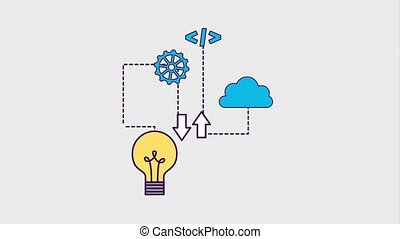 programming and code concept - bulb idea creative code...