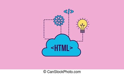 programming and code concept - cloud storage data gear code...