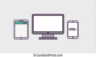programming and code concept - technology devices digital...
