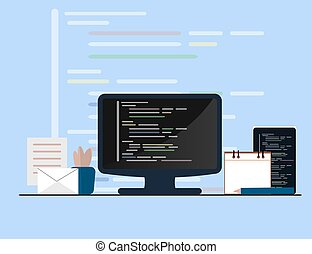 Programming and coding concept, website development, Web Design. Flat Illustration
