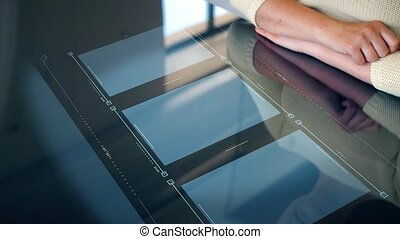 woman working with computer digital screen - programming and...