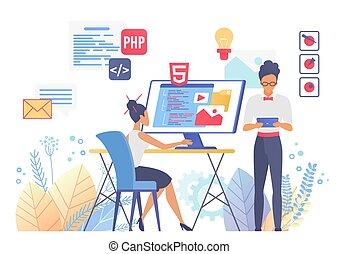 Programming and web design flat vector illustration