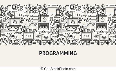 Programming Banner Concept. Vector Illustration of Line Web...