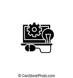 Programming black icon concept. Programming flat  vector symbol, sign, illustration.
