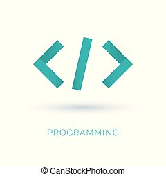 Programming code icon vector. Abstract code icon logo design made of color pieces