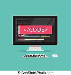Programming code on computer vector illustration, programme...