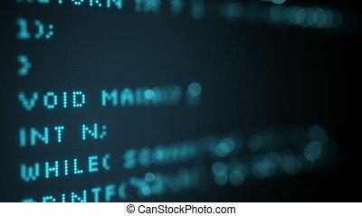 Programming code on screen. Seamless loop animation