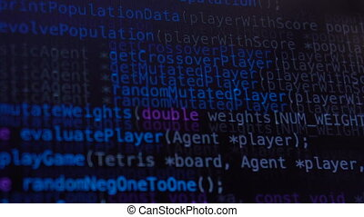 Programming code running down over computer screen terminal...