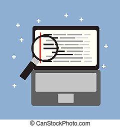 programming code web site development laptop with maginifier