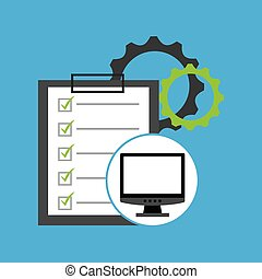 programming coding computer checklist gear vector...