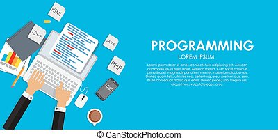 Programming Coding Concept Flat Background Vector Illustration