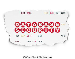 Programming concept: Database Security on Torn Paper background