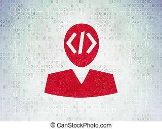 Programming concept: Programmer on Digital Data Paper background