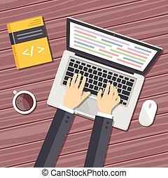 Programming flat illustration concept. Top view. Modern flat...