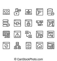 Programming icon set. Vector illustration