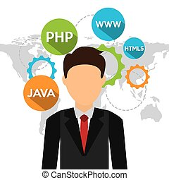programming language design, vector illustration eps10...