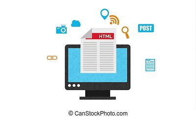 programming language with desktop animation - programming...