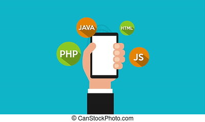 programming language with hand user and icons animation -...
