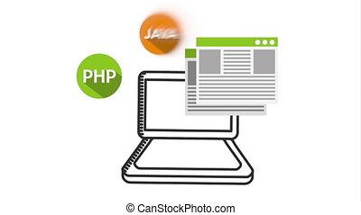 programming language with laptop animation ,hd video...