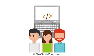 programming language with programmers and laptop ,hd video...