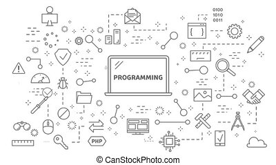 Programming line animation. Flat motion graphic of laptop...
