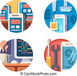 Programming mobile application icons set