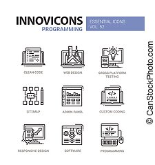 Programming - modern vector line design icons set.